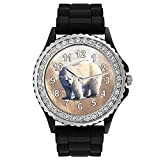 Polar Bear Crystal Rhinestone Jelly Silicone Wrist Watch