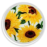 Peggy Karr Glass Handcrafted Art Glass Sunflowers on White 11'' Round Plate, Multicolor Floral Design