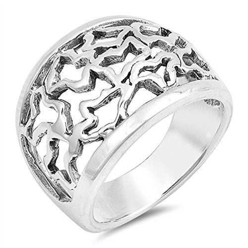 - Antiqued Scrollwork Filigree Mosaic Ring Sterling Silver Wide Band Size 7