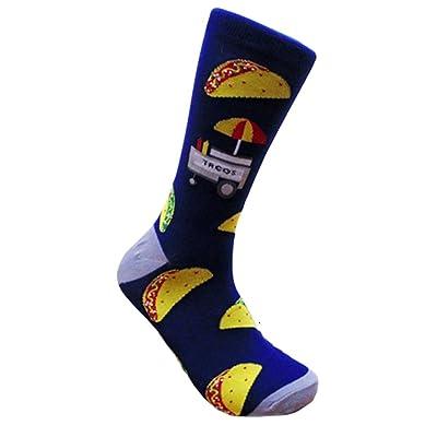 Men's Hipster Taco Supreme Foodie Crew Dress Socks (Blue) at Men's Clothing store
