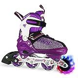 Crazy Skates Adjustable Inline Skates with Light Up Wheels | Roller Blades for Girls | Purple Small (Sizes Jr11-1)