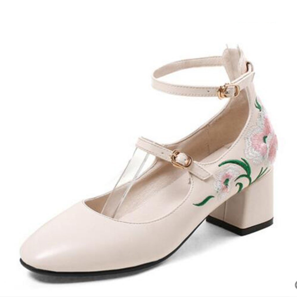 MUMA Pumps Cheongsam Han Elemente mit Frauen Starke Schuhe Temperament Starke Frauen Heel Square Head Bestickte Schuhe Shallow Mund Frühling Schuhe Kordelzug Beige (größe : EU39/UK6/CN39) - 2a7ef0