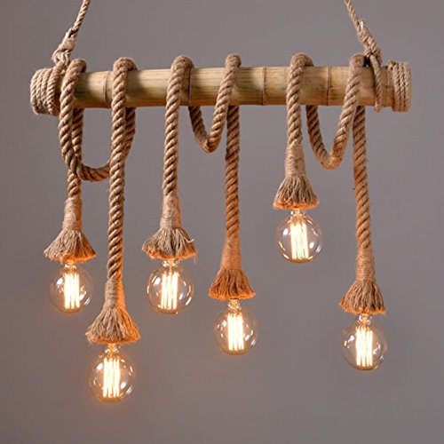 Ting-w Industrial Hemp Rope Bamboo Edison LED Antique