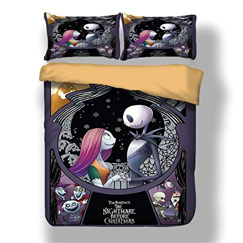 Guidear Nightmare Before Christmas Duvet Cover with 2 Pillowcases Cartoon Skull Bedding Set with Zipper Closure Luxury Soft Microfiber Bedding Set Twin Size 68