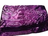 Solaron Classic Purple Korean Thick Mink Plush Embossed King Size Blanket
