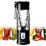 Personal Blender, Smoothie Blender, Juicer, Portable Single Serve Blender for Shakes and Smoothies, 14.3oz/420ml, BPA-free, Travel Jar, 6 Blades, 4200mAh, High Speed, Powerful, Black, Latest Version