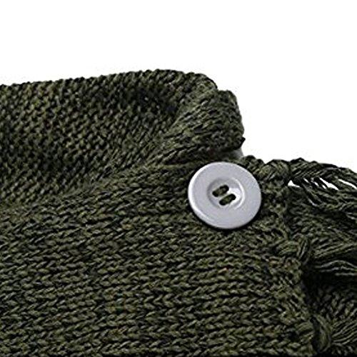 Cardigan Tops Larga Invierno Asimétrico B Caqui De Minetom Jerseys Patchwork Color Elegante Sweater Manga Moda Punto Borla Poncho Chal Mujeres xgwwOY8z