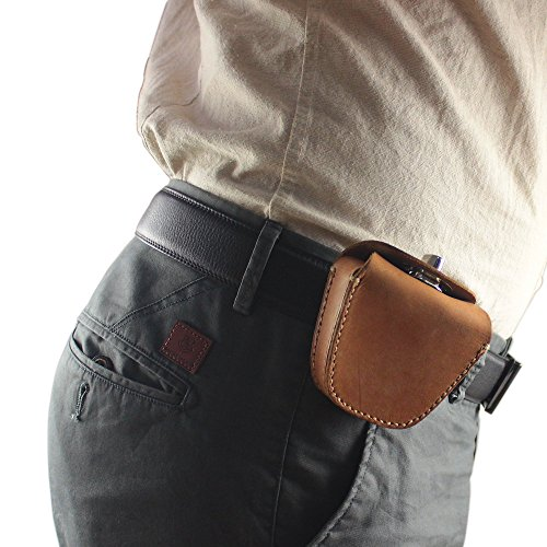 Review Handmade Thick Genuine Leather Belt Ammo Pellet Pouch Storage Bag for Slingshot Balls Rifle