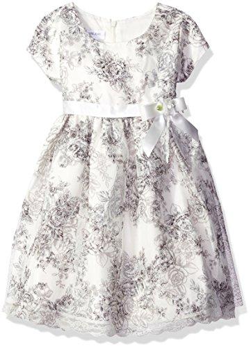 Bonnie Jean Girls' Little Printed Shantung Dress, Ivory, 6