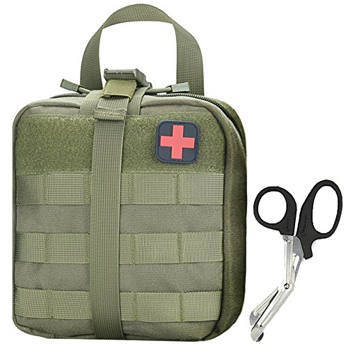 Medical Pouch - Tactical MOLLE Rip-Away 1000D EMT Utility Pouches With Buckle Strap and Velcro Attachment - Free Bonus First Aid Patch And Shear(Green)