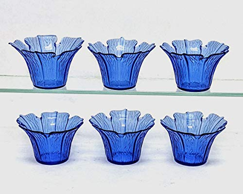 Home Decoration Accessories Blue Glass Votive Candle Holder Tea Light Flower Shape 2.5