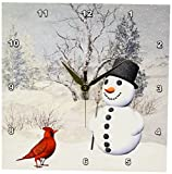 Cheap 3dRose dpp_18581_1 Cardinal and Snowman in Winter Wall Clock, 10 by 10-Inch