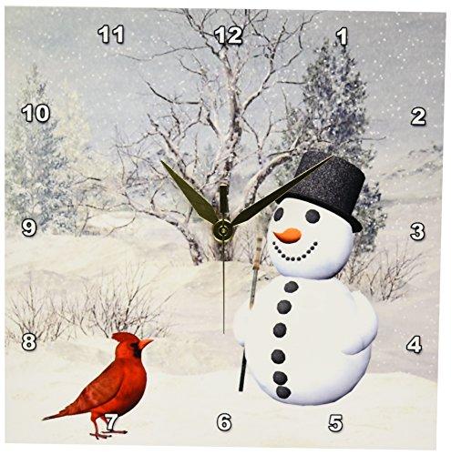 3dRose dpp_18581_1 Cardinal and Snowman in Winter Wall Cl...