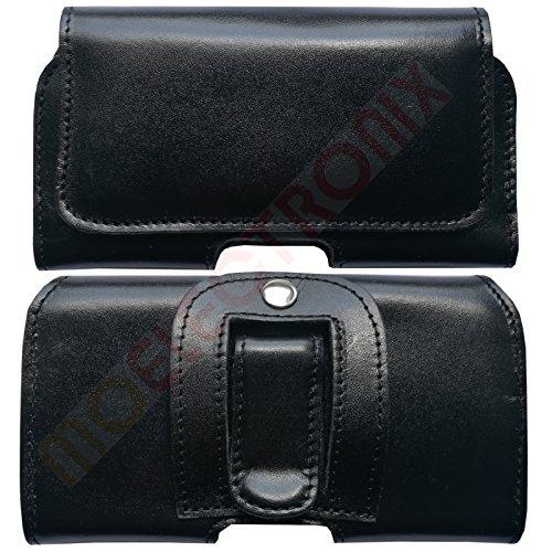 1A ECHT LEDER Gürtel SCHWARZ Seiten Quer Tasche Belt Cover Case Schutz Hülle Etui für Apple Iphone 7 Plus