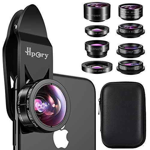 Hpory Phone Lens Kit 9 in 1, Universal Cell Phone Camera Lens for iPhone X/8/7/6/plus & Most Smartphone 0.63X 0.36X Super Wide Lens 15X 20X Macro Lens 198° Fisheye CPL ()