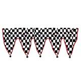Checkered Flag CAR Racing WINDOW VALANCE curtain treatment decor checkerboard