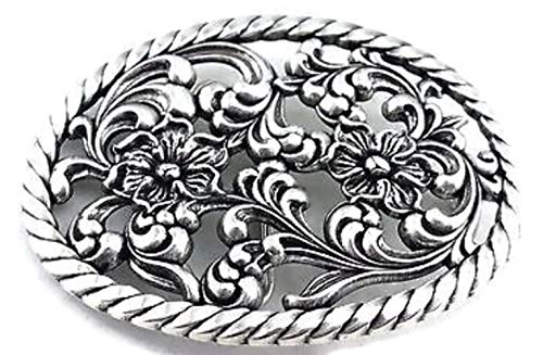 PunPund Antique silver plated western women's cowgirl oval rope edge floral filigree rodeo trophy belt buckle new with 2 finishes