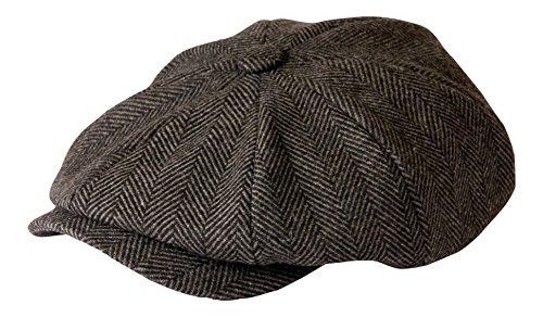 'Shelby' Newsboy Grey Herringbone Cloth Cap By Gamble & Gunn Style of (Fully Lined Tweed Cap)
