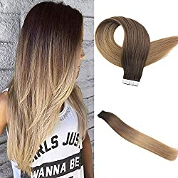 """[Big Promotion]Easyouth 18"""" Invisiable Tape Hair Extensions 50 Gram 2.5g/piece Color Dark Brown Fading To Color Medium Brown Fading To Honey Blonde Skin Weft Adhesive"""