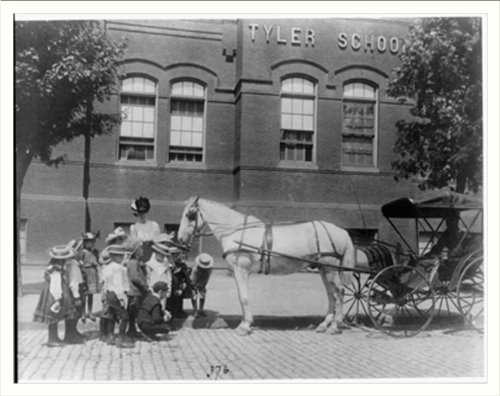 (Historic Print (L): [Children studying a horse and buggy outside the Tyler Sc...)