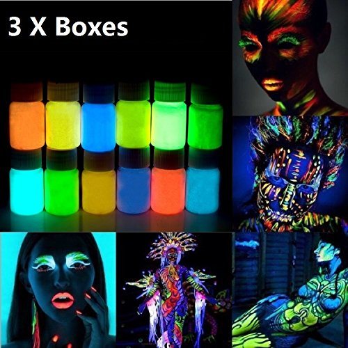 Face and Body Paint Neon Painting,UV Reactive Safe and Non-Toxic Blacklight Reactive Fluorescent Paint,Set of 3 Bottles -