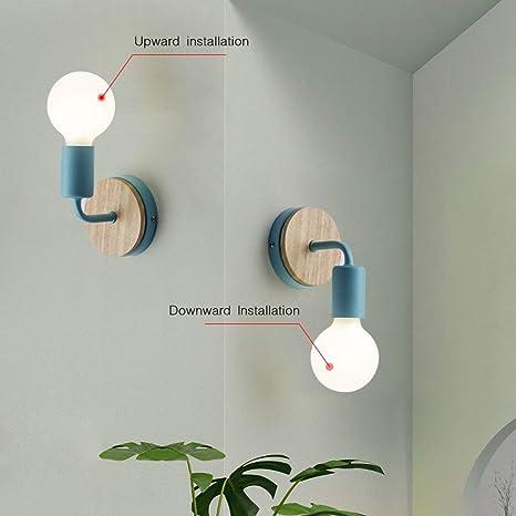 JINYU Lámpara de techo/Pared Bañadores de Pared Luz de Pared Iluminación/Spot, Decoración de madera de roble, Azul, Paquete de 2