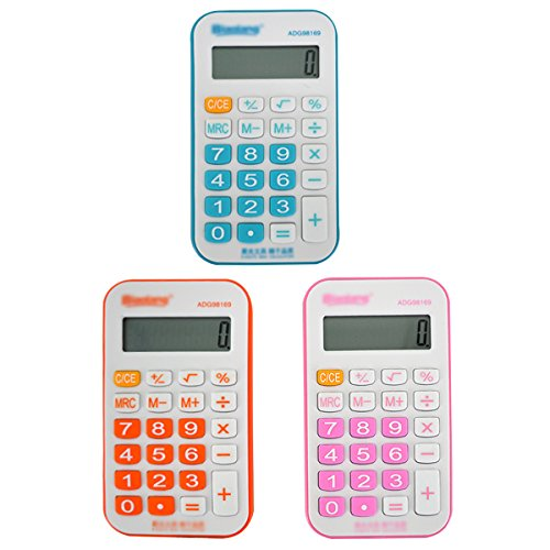 Sherry Student Stationery Calculator Cartoon Office Exam Portable Calculator Blue, Red, or Orange