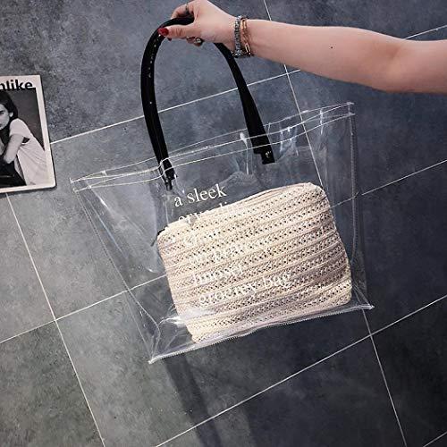 EROUGEShoulder Sac Noir main Handbag Femme transparent à ZgRH1wZq