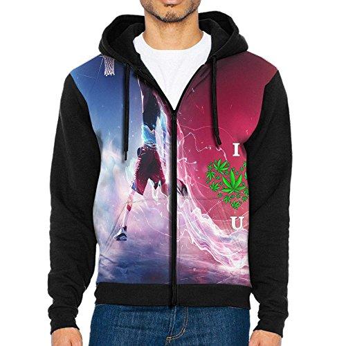 GYANG Full-Zip Sweatshirt I Love Weed Men's Printed Power Long Sleeve Pullover Hooded Shirts Pocket