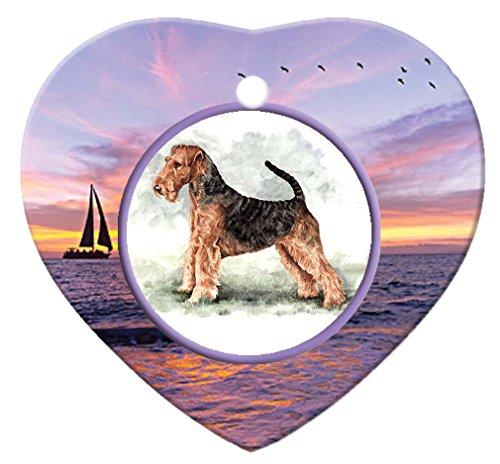 Airedale Terrier Porcelain Heart Ornament - Sunset