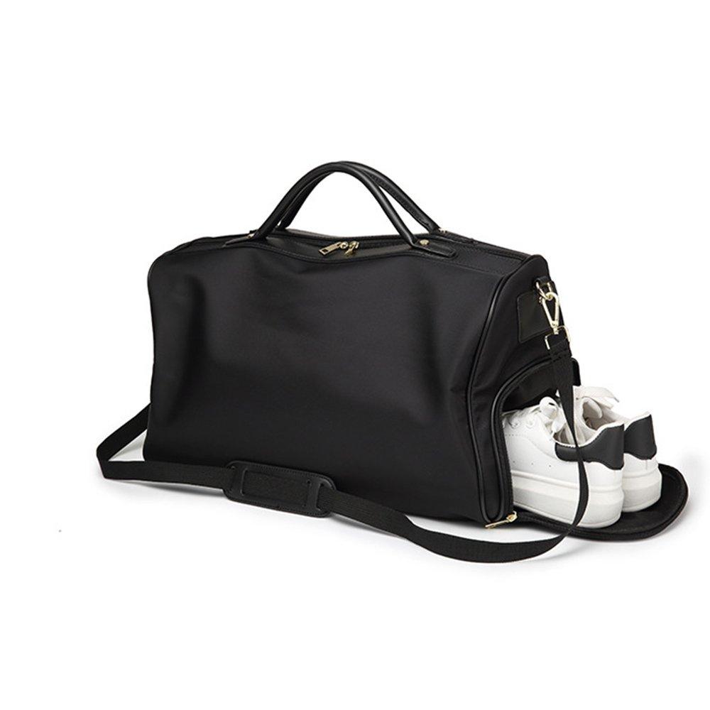 Gashen Foldable Travel Duffel Bag Lightweight Luggage Sports Gym Water Resistant Nylon Shoulder Bag (black)