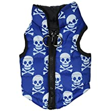 New Various Pet Cat Dog Soft Padded Vest Harness Small dog clothes Blue Skull XS
