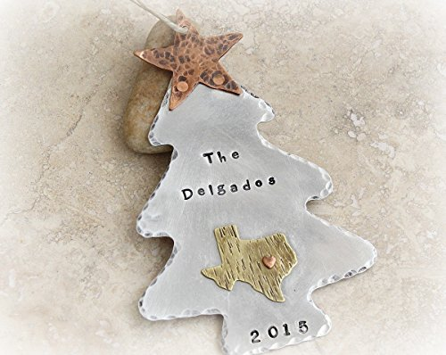 Christmas tree ornament with ANY STATE with heart over city. Personalized with name or Family Name and topped off with copper star