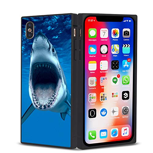 - Youkeka Great White Shark Open Jaws Ocean Life Sea Stylish Square Case Cover Soft TPU Square Elegant Case Compatible for iPhone X 10 Xs