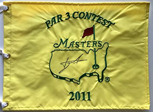 Luke Donald signed Masters golf pin flag par 3 three contest pga