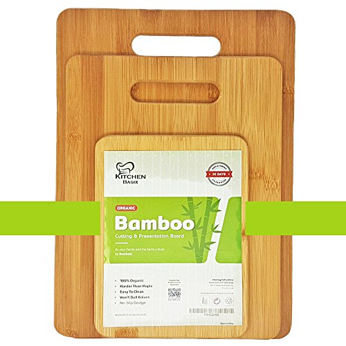 Bamboo Cutting Board 3 Piece Set, Made From Premium 100% Organic And Safe Antibacterial Wood, Newest Non-Stick Design, FDA Approved And BPA Free Kitchen Chopper Reversible Stand. Kitchen Basix by Kitchen Basix (Image #6)'