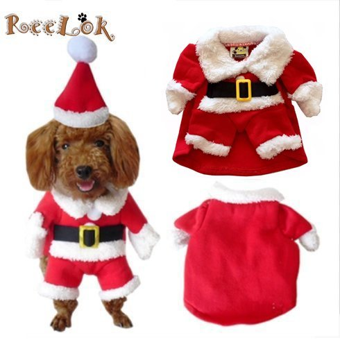 Reelok Christmas Santa Claus Pet/Dog Halloween Clothes Holiday Costume/Outfit/Clothes/Gift Warm for Winter and Holiday season with Xmas Hat - L Size (12) Large