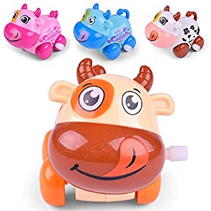 Doll and animal Toys, Yamally_9R Clockwork Funny Cartoon Puppy and LED Music Toy Roly Doll Toys (Random color Cattle)