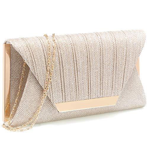 (Womens Evening Clutch Bag Wedding Purse Bridal Prom Handbag Party Bag(Champagne) )