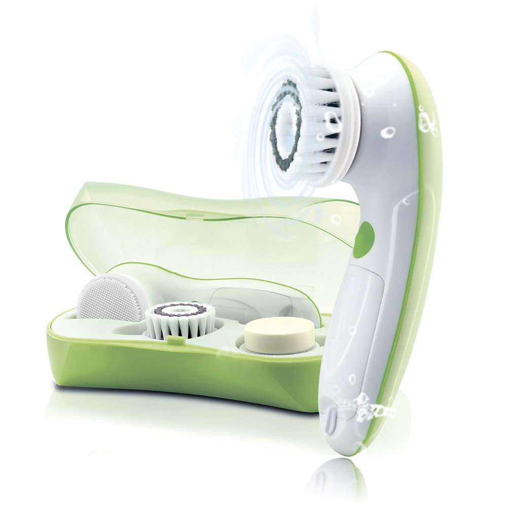 TOUCHBeauty Face Brush Skin Cleansing & Exfoliating Device [FDA Certification] with 3 Different Spin Brush Head for Oil/Sensitive/Combination skin 0759A Yellow Green