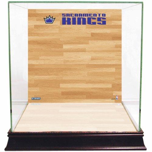 (NBA Sacramento Kings Glass Basketball Display Case with Team Logo on Court Background)