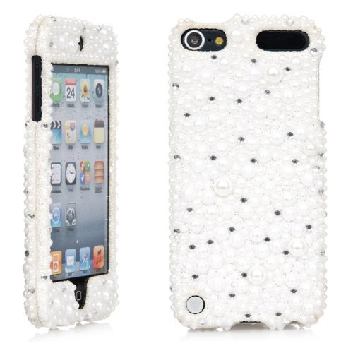 iPod Touch, 3D White Pearl Bling Rhinestone Crystal Jeweled Snap on Full Cover Case for Apple iPod Touch 6th Gen 5th Gen (White Pearl)