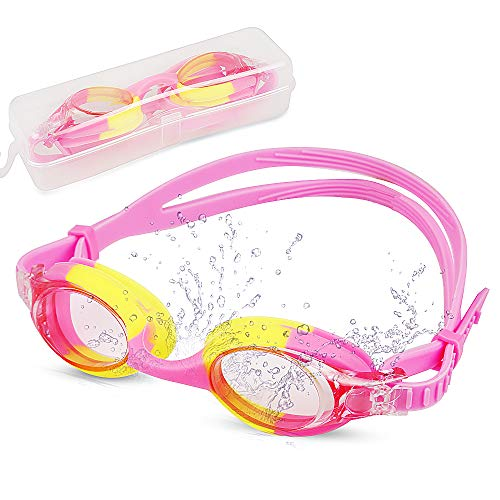 Innoo Tech Swimming Goggles Girls, Swim Goggles Kids Youth Glasses | No Leaking Anti Fog UV Protection with Protection Case