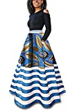 Inorin Womens African Print Skirts Dashiki Striped Long Maxi Skirt with Pockets