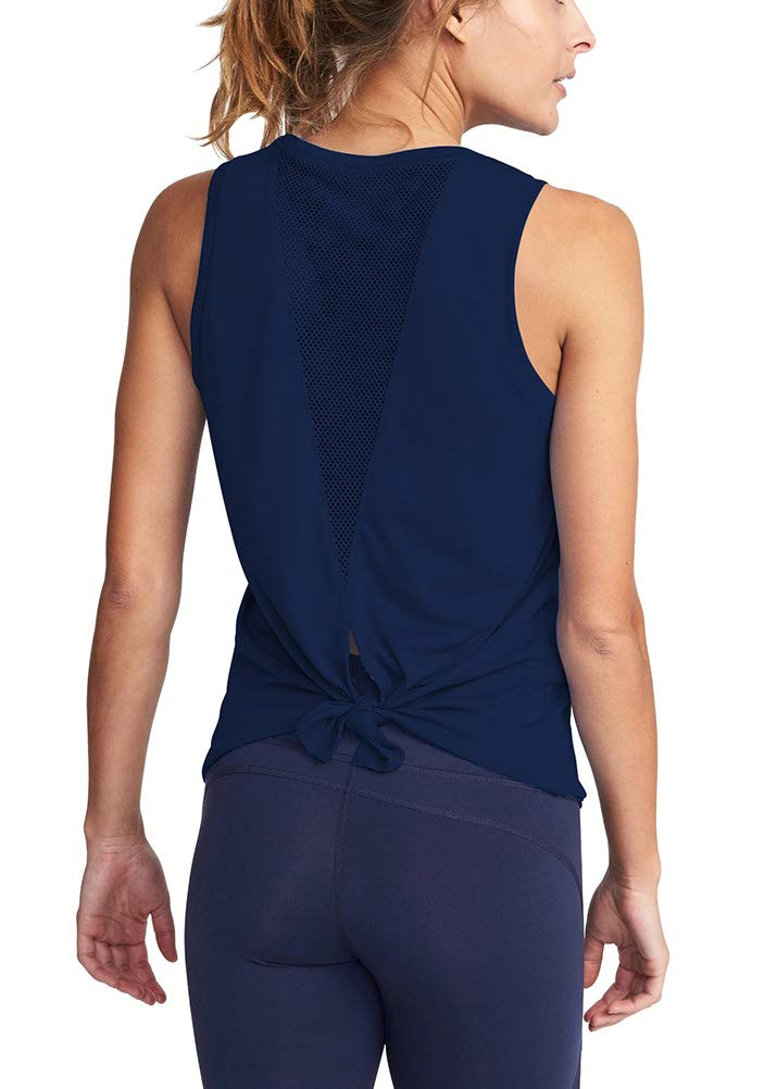 Mippo Women's Activewear Open Back Workout Tops Backless Yoga Shirts Cool Fitness Muscle Tank Workout Tanks Stretchy Sports Gym Cute Running Tank Tops with Mesh Navy Blue XS by Mippo