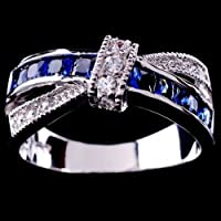 Aisamaisara Women 925 Sterling Silver Amethyst Emerald Sapphire Cross Rings Wedding Jewelry #Royal Blue (7)