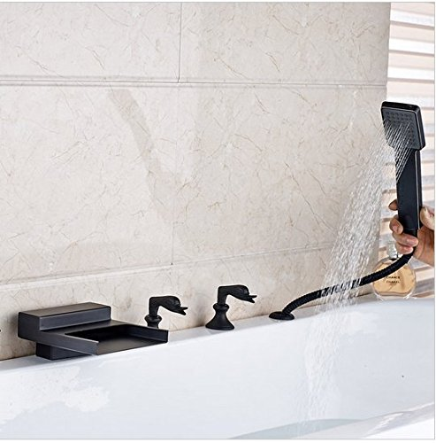 GOWE Deck Mounted Bathroom Tub Sink Faucet Widespread Waterfall Roman Bathtub Mixer Tap with Handshower color:style 1 1