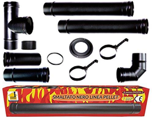 Kit de fumisterie pour poêle à pellets, tuyaux de 80mm de diamètre, en acier noir émaillé, pour évacuation de la fumée, résistants à 600 °C, Made in Italy tuyaux de 80mm de diamètre