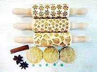 CHRISTMAS 3 KIDS Rolling pin SET. Christmas tree. Snowflake. Winter. Star. Snowman. Gingerbread cookies. Children Rolling Pin for cookie, play dough