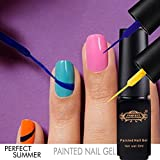 Perfect Summer New Hot 12pcs UV Nail Gel Polish Painted Nail Gel Dotting Tools DIY Nails Art Colors Decorations Desgins Painting Drawing Manicure 6ml Mini Pen Pull Nail Gel Liner #03